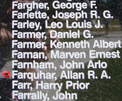 Memorial – Flying Officer Allan Ronald Armitage Farquhar is also commemorated on the Bomber Command Memorial Wall in Nanton, AB … photo courtesy of Marg Liessens