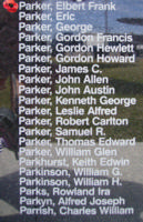 Memorial – Pilot Officer Elbert Frank Parker is commemorated on the Bomber Command Memorial Wall in Nanton, AB … photo courtesy of Marg Liessens