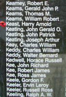 Memorial – Sergeant Harry Arnold Keast is also commemorated on the Bomber Command Memorial Wall in Nanton, AB … photo courtesy of Marg Liessens