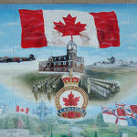 Preston Ontario Wall of Remembrance Mural – Mural by D. Sopha.  Located adjacent to the Preston Cenotaph.