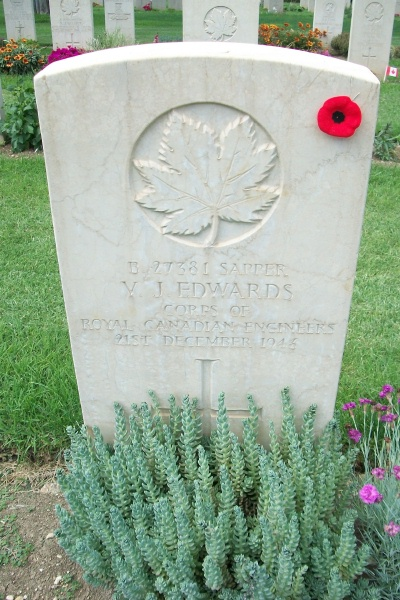 Grave Marker – Moro River Canadian War Cemetery - May 2013 … Photo courtesy of Marg Liessens