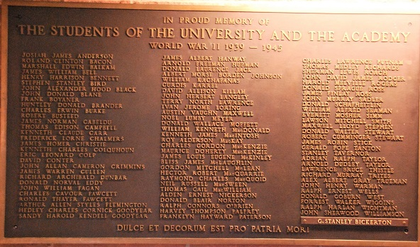 Memorial – Mount Allison University, plaque honouring students who served, and died, in World War II