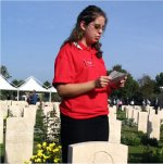 Photo of Maureenn Story – Maureen Story gives her commemorative presentation on the life of her great uncle, John Fehr, at the Moro River Canadian War Cemetery.
