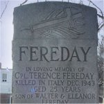 Memorial Headstone – Lance Corporal Terence Fereday is remembered on this memorial marker at St. John's Norway Cemetery, Woodbine Avenue, Toronto, Ontario.
