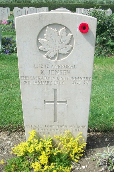 Grave Marker – Grave marker - Moro River Canadian War Cemetery - May 2013 … Photo courtesy of Marg Liessens