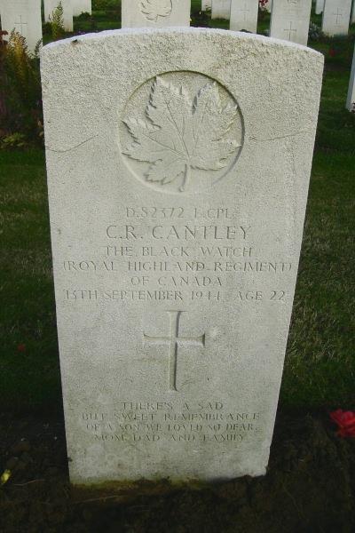 Grave Marker – Grave marker - Calais Canadian War Cemetery … photo courtesy of Marg Liessens