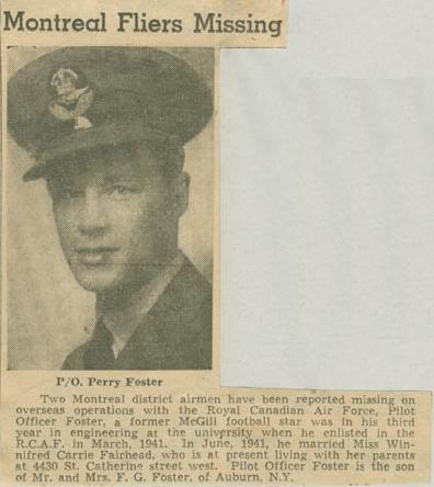 Press Clipping – Pilot Officer Perry Clinton Foster MIA Montreal Star June 26 1942 courtesy McGill University archives
