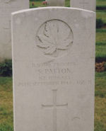 Grave Marker – Headstone of Stanley Patton. Stanley had originally enlisted with the Grey and Simcoe Foresters in Sault Ste. Marie. Image provided by Padre Phil Miller, RCL, Branch 25, Sault Ste. Marie. We Will Remember Them.