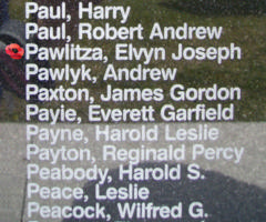 Memorial – Flying Officer Elwyn Joseph Pawlitza is also commemorated on the Bomber Command Memorial Wall in Nanton, AB … photo courtesy of Marg Liessens