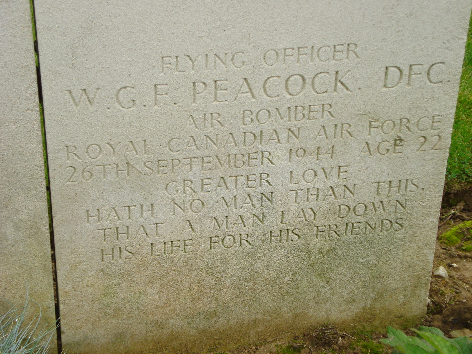 Inscription – Photo taken in October 2007 while visiting the cemetery with my father (Warren Grant) who was a first cousin and boyhhood friend of Wilfred Peacock.