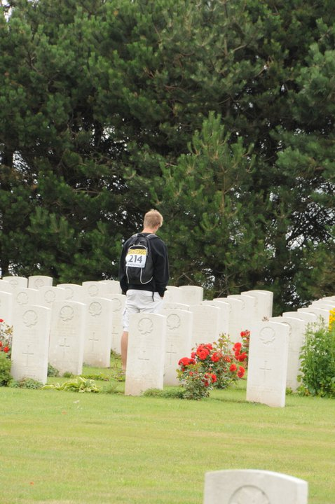 Paying respects – First cousin twice removed Mitchell O'Donnell. visiting while in France participating in the World Youth Track and Field Championships.  Mitch's grandfather William Patrick O'Donnell was raised by the Peacocks, and considered Wilfred as a brother