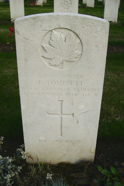 Grave Marker – Grave marker - Calais Canadian War Cemetery … photo courtesy of Marg Liessens