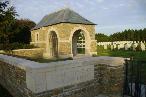Entrance – Calais Canadian War Cemetery … photo courtesy of Marg Liessens