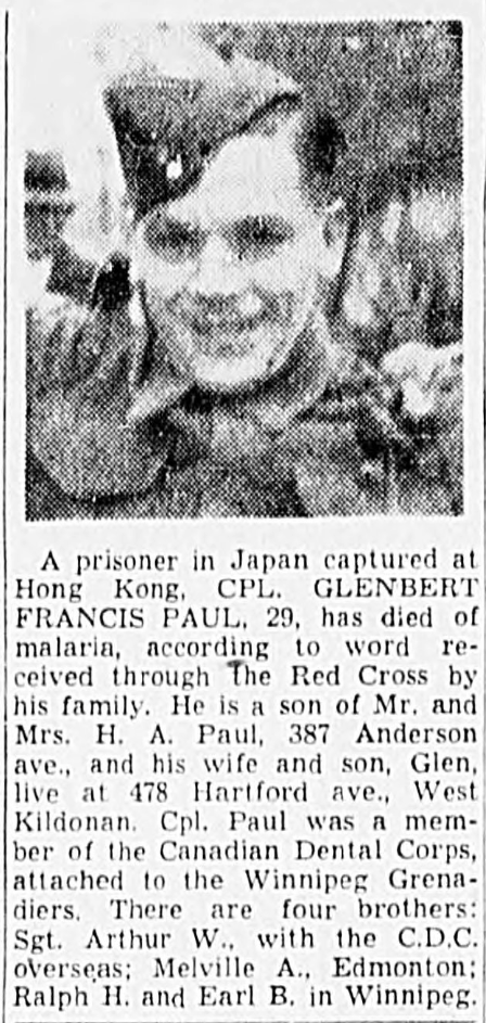 Newspaper Clipping – In memory of the men and women memorialized on the pages of the Winnipeg Evening Tribune. Submitted for the project, Operation: Picture Me