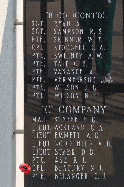 Memorial – Corporal Henry John Beaudry is also commemorated on the Lake Superior Regiment (Motor) Memorial located in Hillcrest Park, Thunder Bay, ON … May 2018 ... photo courtesy of Marg Liessens