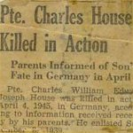 Newspaper Clipping – Hamilton Spectator article announcing Private Charles House killed in action