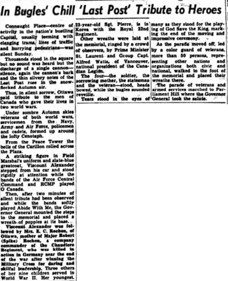 Newspaper Clipping – Mrs Alice Rochon Silver Cross Mother 1951. Submitted for the project, Operation Picture Me