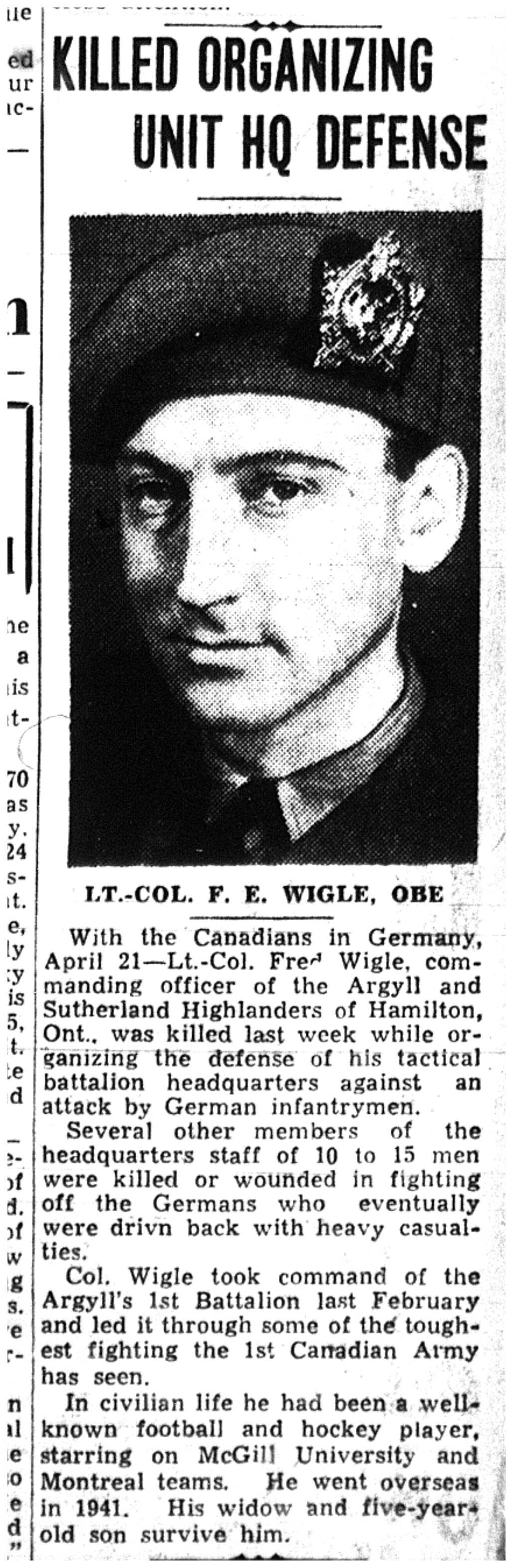 Newspaper clipping – Memorialized on the pages of the Toronto Telegram. Submitted for the project, Operation Picture Me