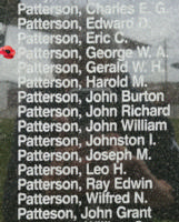 Memorial – Flight Sergeant George William Alex Patterson is also commemorated on the Bomber Command Memorial Wall in Nanton, AB … photo courtesy of Marg Liessens