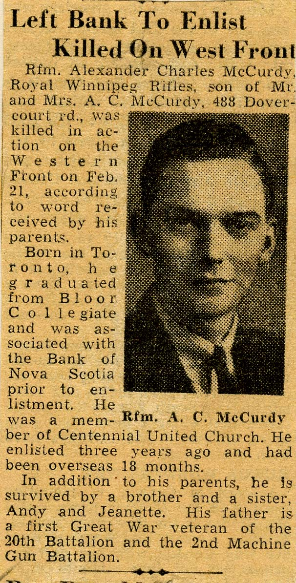 Newspaper Clipping – In memory of the employes from the Bank of Nova Scotia who went away to war and did not return. Submitted for the project, Operation: Picture Me