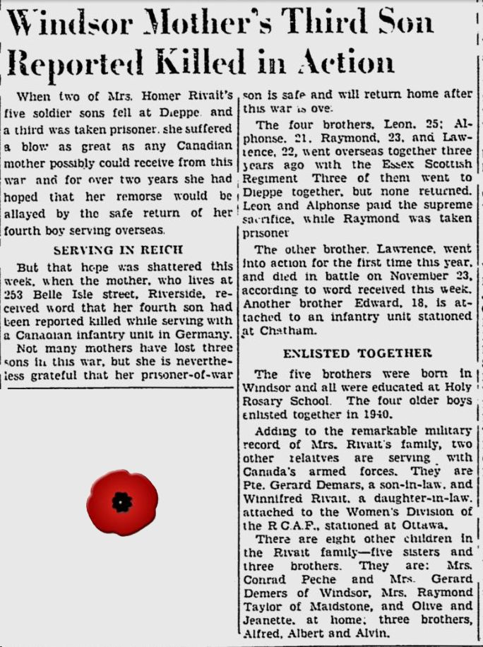 Newspaper Clipping – Image source: The Windsor Daily Star - Dec 5, 1944