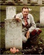 Grave marker – Donald Spiers visiting his uncle, Stuart A B Spiers grave.