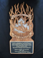 Plaque – Plaque gifted to the French group who recovered Harry's engine which became a memorial solemnized at Sacy le Grand June 25, 2011. A number of the MacKenzie family present.