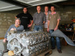 Group Photo – The French group who worked for two years at recovering JR 523 (Harry's plane and engine) from the swamps of Sacy.  Photo of group, from left to right : Gérard Lequien, Anthony  Pitois, Eric Fardel, Sylvain Chedeville, and Dominique Lecomte