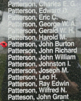 Memorial – Pilot Officer John Burton Patterson is also commemorated on the Bomber Command Memorial Wall in Nanton, AB … photo courtesy of Marg Liessens