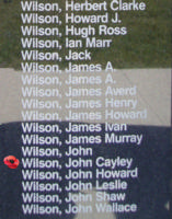 Memorial – Pilot Officer John Cayley Wilson is also commemorated on the Bomber Command Memorial Wall in Nanton, AB … photo courtesy of Marg Liessens