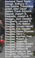 Memorial – Pilot Officer Walter Morrison Douglas is also commemorated on the Bomber Command Memorial Wall in Nanton, AB … photo courtesy of Marg Liessens