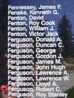 Memorial – Flight Sergeant Robert Chrysler Ferguson is also commemorated on the Bomber Command Memorial Wall in Nanton, AB … photo courtesy of Marg Liessens