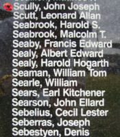 Memorial – Pilot Officer John Joseph Scully is commemorated on the Bomber Command Memorial Wall in Nanton, AB … photo courtesy of Marg Liessens