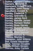 Memorial – Pilot Officer Grenville Gordon Stanley is also commemorated on the Bomber Command Memorial Wall in Nanton, AB … photo courtesy of Marg Liessens