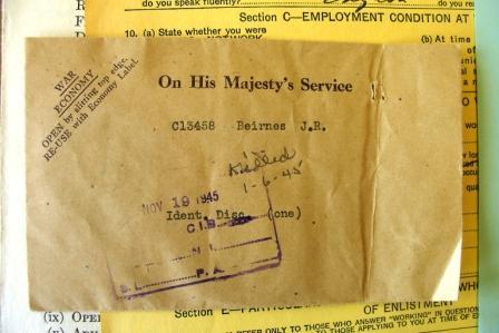 Identitiy Disc – Identity disc from LAC Ottawa.  Envelope still sealed.