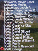 Memorial – Flying Officer George Scott is commemorated on the Bomber Command Memorial Wall in Nanton, AB … photo courtesy of Marg Liessens