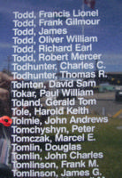 Memorial – Pilot Officer John Andrews Tolmie is commemorated on the Bomber Command Memorial Wall in Nanton, AB … photo courtesy of Marg Liessens