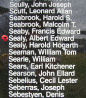 Memorial – Flight Sergeant Albert Edward Sealy  is commemorated on the Bomber Command Memorial Wall in Nanton, AB … photo courtesy of Marg Liessens