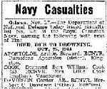 Newspaper Clipping – Coder RITCHIE OULTON SEATH was one of 15 sailors who died when a sudden night gale drove the destroyer HMCS Skeena ashore on Videy Island, two miles off Reykjavik Iceland, in the late evening/early morning of October  24-25, 1944.    This list contains 14 names.  The name of Leading Seaman JOSEPH FREDERIC ANDRE BLAIS is missing from this list, which was published in the Globe and Mail, November 18, 1944.