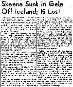 Newspaper Clipping – Details of the loss of HMCS Skeena on October 25, 1944 were only made public in May 1945. Newspaper Clipping from the Globe and Mail May 17, 1945