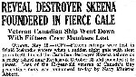 Newspaper Clipping – Details of the loss of HMCS Skeena on October 25, 1944 were only made public in May 1945.  Newspaper Clipping from the Hamilton Spectator, May 16, 1945.  Part 1