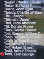 Memorial – Pilot Officer Elvin George Todd is commemorated on the Bomber Command Memorial Wall in Nanton, AB … photo courtesy of Marg Liessens