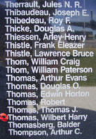 Memorial – Flying Officer Wilbert Harry Thomas is commemorated on the Bomber Command Memorial Wall in Nanton, AB … photo courtesy of Marg Liessens