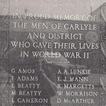 War Memorial – This memorial is located in Carlyle, Saskatchewan.