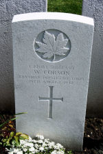 Grave Marker – A photograph of the headstone at the Dieppe Canadian War Cemetery, just outside the Dieppe, France. May he rest in peace. (J. Stephens)