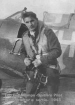Photo of Leo Joseph DesChamps – Returning from a sortie  - 1942/3 Spitfire fighter pilot. He was the 6th child of 14 and has become the family hero.
