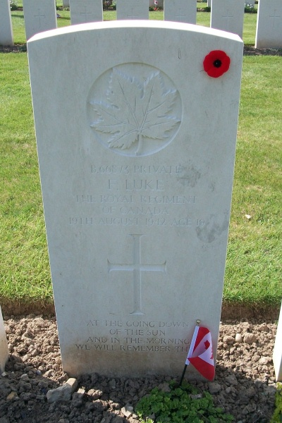 Photo of FRED LUKE – Grave marker - Dieppe Canadian War Cemetery - April 2017 … photo courtesy of Marg Liessens