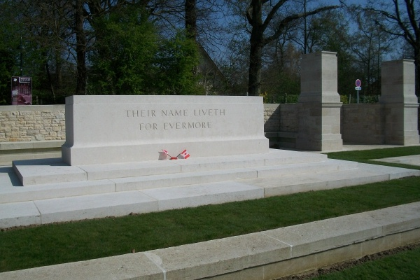 Photo of FRED LUKE – Stone of Remembrance - Dieppe Canadian War Cemetery - April 2017 … photo courtesy of Marg Liessens