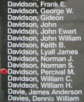 Memorial – Sergeant Percival Matthew Davidson is also commemorated on the Bomber Command Memorial Wall in Nanton, AB … photo courtesy of Marg Liessens