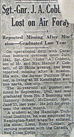 Newspaper clipping – This is an image of John Cobbett's obituary from the Hamilton Spectator, Jan 45.  It is taken from his Personal File in the Canadian Archives.  His wife sent the clipping to the RCAF.  Source: Library and Archives Canada vis R. Whitehouse